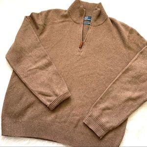 Polo Ralph Lauren brown silk cashmere quarter zip